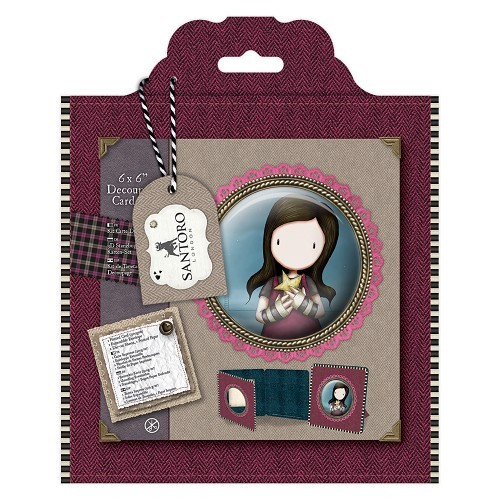 Gorjuss: 6 x 6 Framed Decoupage Card Kit - Santoro Tweed (GOR 169121)