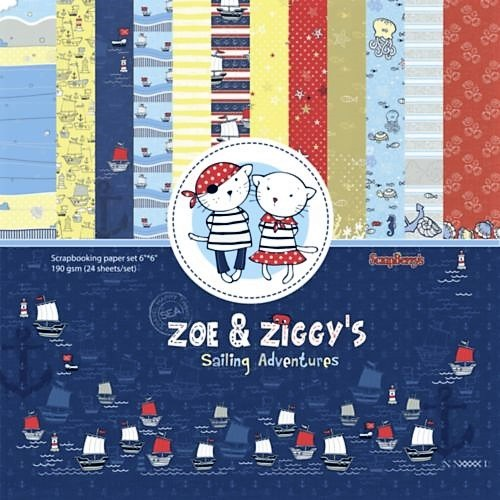 Scrapberry's: Zoe & Ziggy's Sailing Adventures Paper Collection Set 6*6 (SCB220609909X)