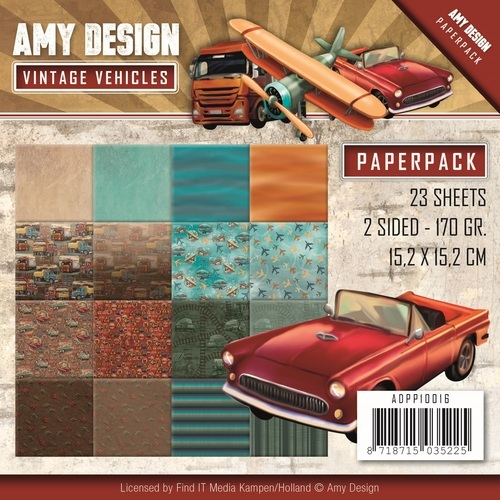 "Amy Design: Vintage Vehicles  - paperpack 6*6"" (ADPP10016)"