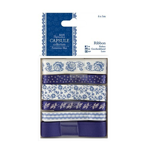 Papermania: Capsule - Parisienne Blue - 1m Ribbon (6pcs) (PMA 367111)