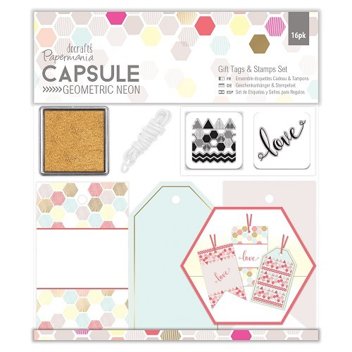 Papermania: Capsule - Geometric Neon - Gift Tags & Stamps Set (16pcs) (PMA 105301)
