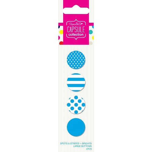 Papermania: Capsule- Spots & Stripes Brights - Blue - Large Buttons (4pcs) PMA 354404