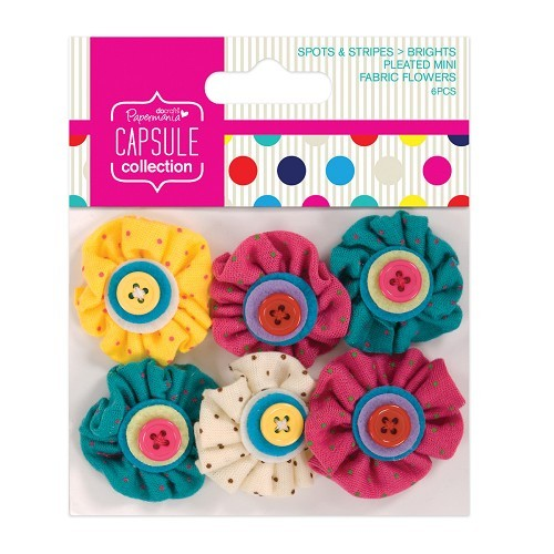 Papermania: Capsule - Spots & Stripes Brights - Pleated Mini Fabric Flowers (6pcs) (PMA 358011)
