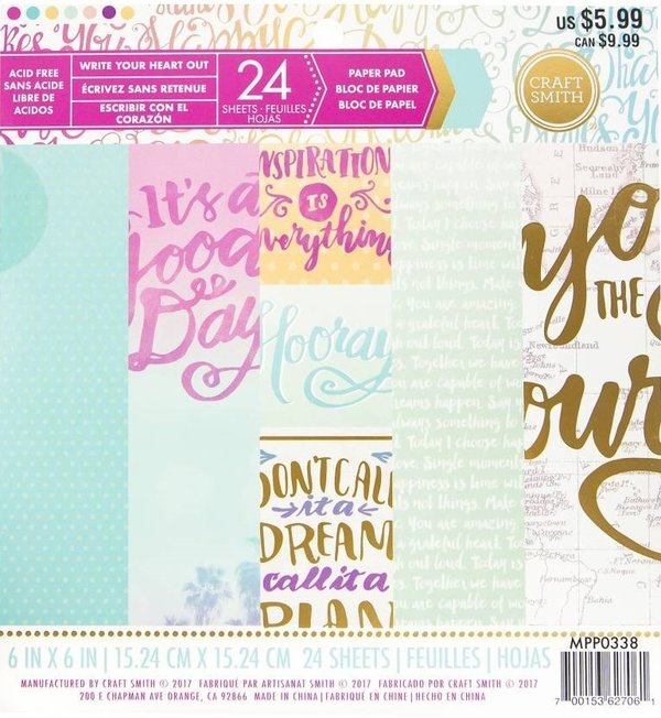 "Craft Smith: Write Your Heart Out Paper Pad 6*6"" (MPP0338)"
