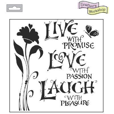 The Crafter's Workshop: Template 6x6 15x15cm live love laugh (TCW467s)