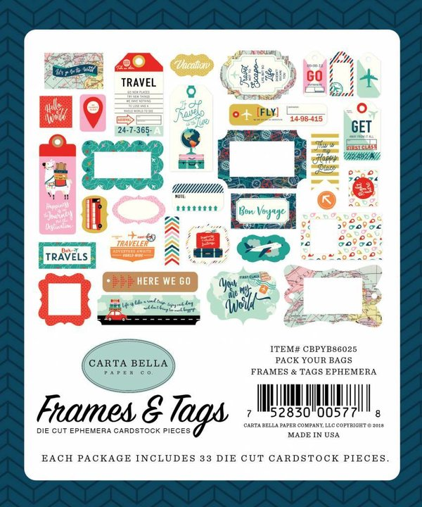 Carta Bella Pack Your Bags Frames & Tags (CBPYB86025)