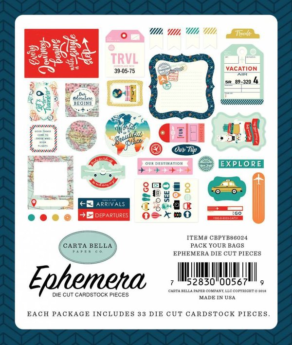 Carta Bella Pack Your Bags Ephemera die cut (CBPYB86024)
