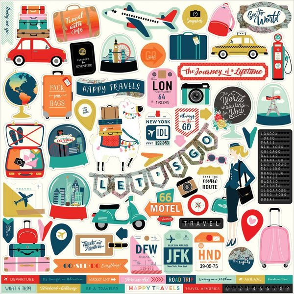 Carta Bella: Pack Your Bags 12x12 Inch Element Stickers (CBPYB86014)
