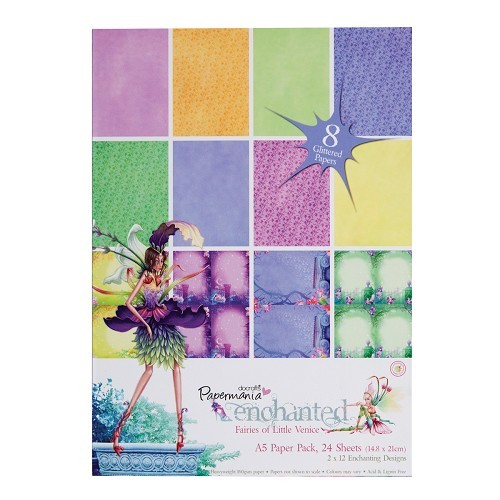Docrafts: Enchanted Fairies A5 Glitter Paper Pack (24Pk)