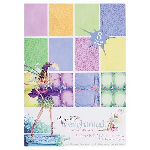 Docrafts: Enchanted Fairies A4 Glitter Paper Pack (24Pk) (PMA 160115)