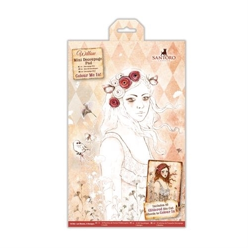 Willow: Colour Me In Mini Decoupage Pad - Santoro (WIL 169001)