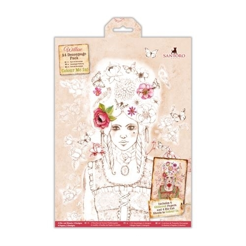 Willow: Colour Me In A4 Decoupage Pack - Santoro (WIL 169000)