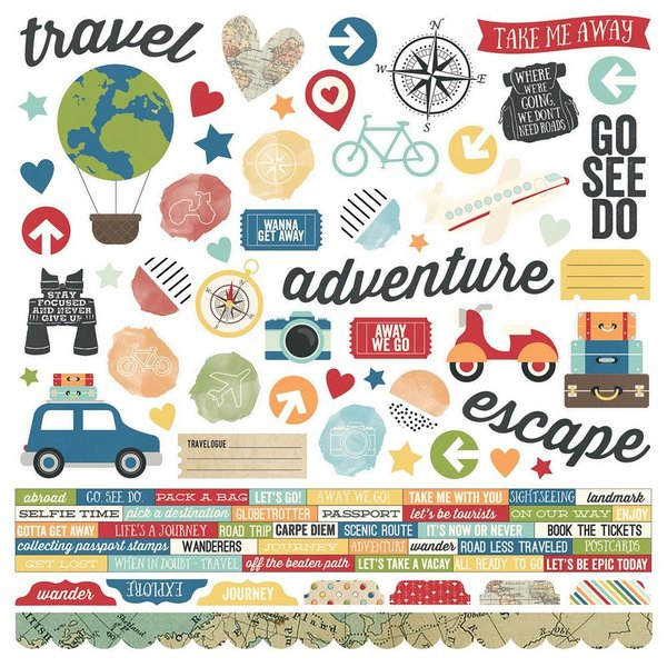 "Simple Stories: Travel Notes Cardstock Stickers 12""X12"" (TRA10094)"