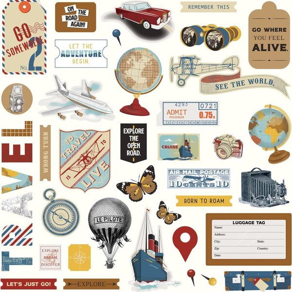 "Photoplay: Here & There Stickers 12""X12"" (HAT9295)"