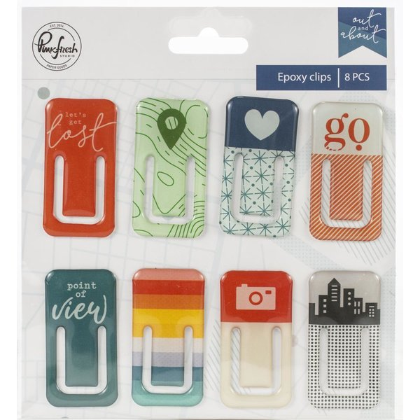 Pinkfresh: Out & About Epoxy Clips 8/Pkg