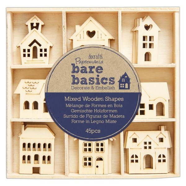 Papermania: Bare Basics Wooden Shapes Houses (45pcs) (PMA 174744)