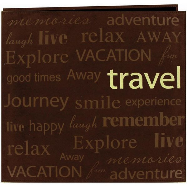 "Pioneer: Travel Text Faux Suede Post Bound Album 12""X12"""