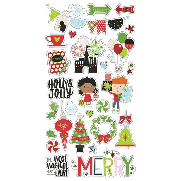 "Simple Stories Say Cheese Christmas Chipboard Stickers 6""X12"""