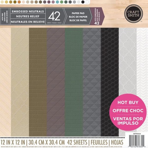 Craft Smith Embossed Neutrals 12x12 Inch Paper Pad (MPP0064)