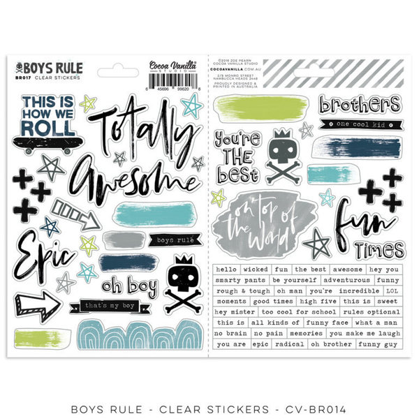 Cocoa Vanilla BOYS RULE - Clear Stickers (CV-BR014)