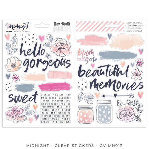 Cocoa Vanilla MIDNIGHT - Clear Stickers (CV-MN017)