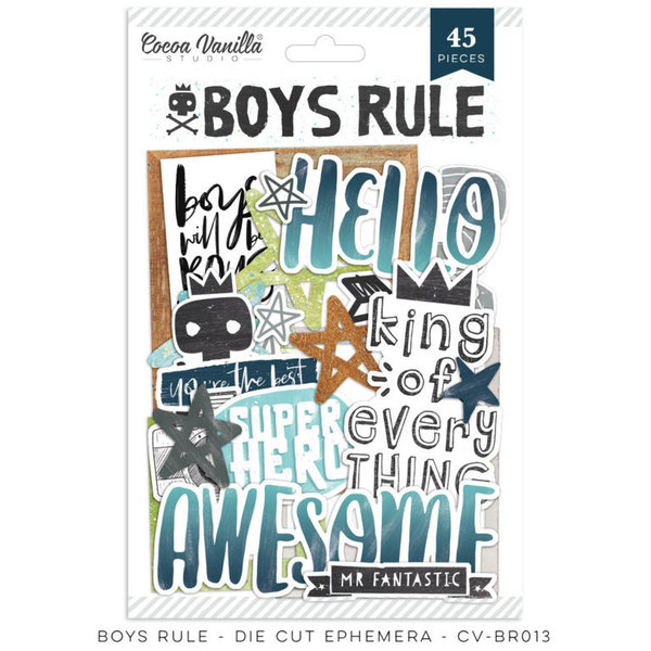 Cocoa Vanilla BOYS RULE - Die Cut Ephemera (CV-BR013)