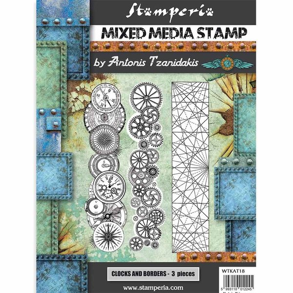 Stamperia Sir Vagabond Mixed Media Stamp Steampunk Borders (WTKAT18)